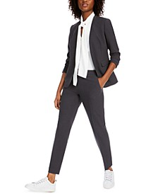 Collarless Open-Front Jacket, Bow-Neck Blouse & Straight-Leg Pants, Created for Macy's