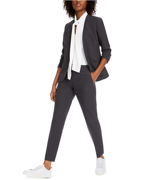 Bar III Collarless Open-Front Jacket, Bow-Neck Blouse & Straight-Leg Pants, Created for Macy's