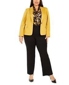 Kasper Plus Size Shawl-Collar Blazer, Printed Tie-Neck Top & Pull-On Compression-Waist Pants