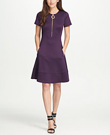DKNY Short Sleeve Zipper Fit  Flare Dress