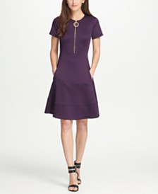 DKNY Short Sleeve Zipper Fit  Flare Dress