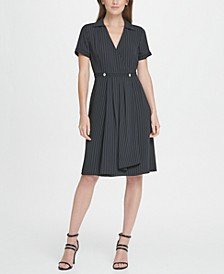 Pinstripe Collared Fit  Flare Dress