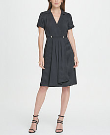 DKNY Pinstripe Collared Fit  Flare Dress