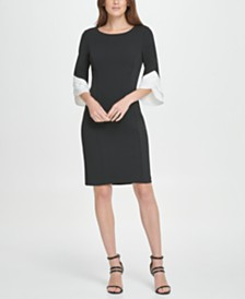 DKNY Triple Ruffle Sleeve Sheath Dress