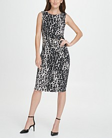 Animal Print Side Knot Jersey Sheath Dress
