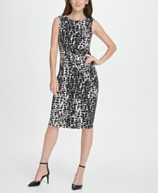 DKNY Animal Print Side Knot Jersey Sheath Dress
