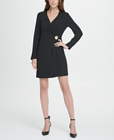 DKNY Long Sleeve Gold Button Coatdress
