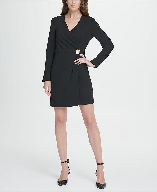 DKNY V-Neck Gold Button Coat Dress