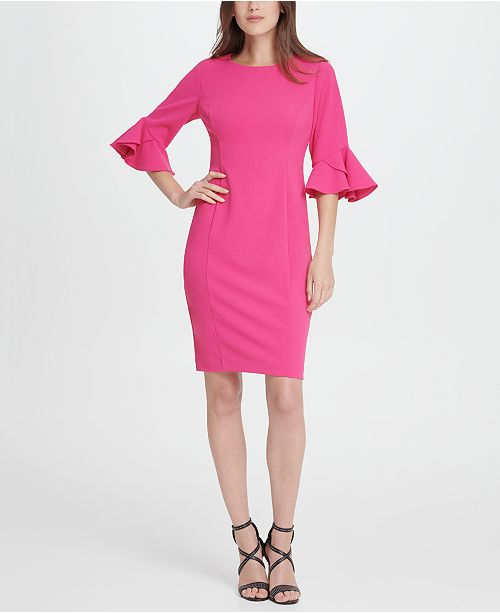 DKNY 3/4 Triple Ruffle Sleeve Dress