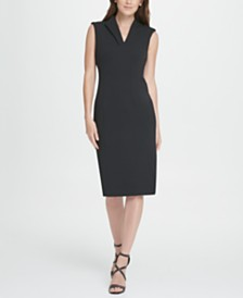 DKNY Seamed Compression Crepe Sheath Dress