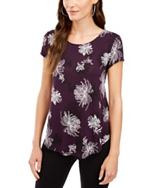 Alfani Floral-Print Cap-Sleeve Top, Created for Macy's