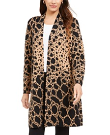Alfani Animal-Print Cardigan, Created For Macy's