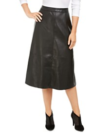 Alfani Faux-Leather A-Line Skirt, Created for Macy's