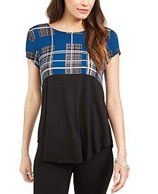 Petite Plaid Colorblocked Top, Created For Macy's