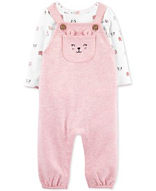 Carter's Baby Girls 2-Pc. Animal-Print T-Shirt & Overalls Set