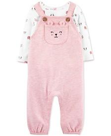 Carter's Baby Girls 2-Pc. Animal-Print T-Shirt & Overalls Set