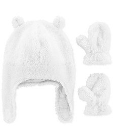 Carter's Baby Girls 3-Pc. Sherpa Hat & Mittens Set