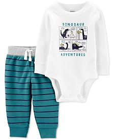 Carter's Baby Boys 2-Pc. Cotton Dinosaur Bodysuit & Jogger Pants Set