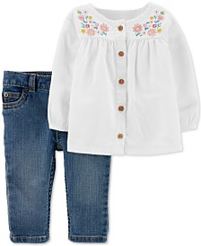 Carter's Baby Girls 2-Pc. Embroidered Peasant Top & Jeans Set