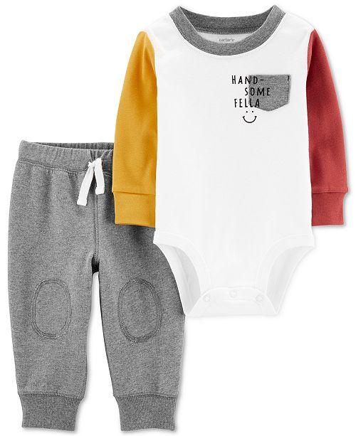 Carter's Baby Boys 2-Pc. Cotton Colorblocked Bodysuit & Jogger Pants Set