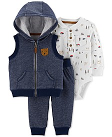 Baby Boys 3-Pc. French Terry Vest, Jogger Pants & Thermal Bodysuit Set