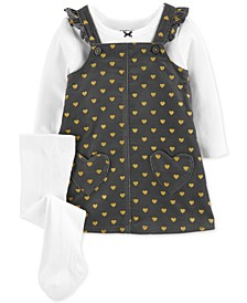 Baby Girls 3-Pc. Bow T-Shirt, Heart-Print Jumper & Footed Tights Set