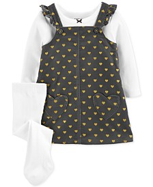 Carter's Baby Girls 3-Pc. Bow T-Shirt, Heart-Print Jumper & Footed Tights Set