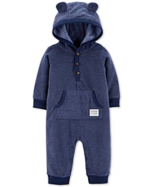 Baby Boys Hooded Fleece Bear Coverall
