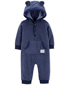 Baby Boys Hooded Fleece Bear Coverall