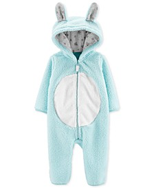 Baby Girls Hooded Sherpa Bunny Coverall