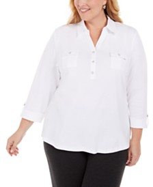 Karen Scott Plus Size Cotton 3/4-Sleeve Polo Top, Created for Macy's
