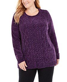 Plus Size Cable-Knit Chenille Sweater, Created for Macy's