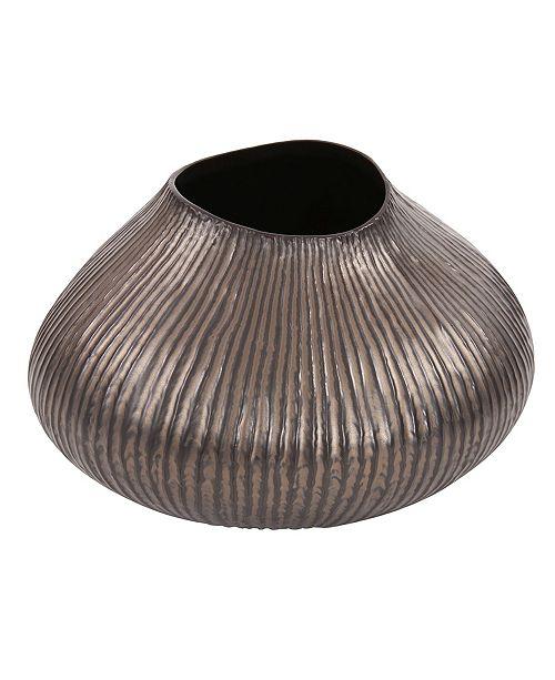 Howard Elliott Ribbed Bronze Freeform Vase, Small