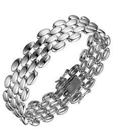 Sterling Silver Flat Oval disc deisgn Bracelet