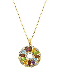 Prime Art & Jewel 18K Gold Over Sterling Silver Multi Stone Floral Round Pendant