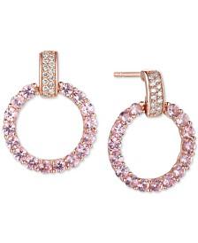 Emerald (1-1/2 ct. t.w) & Diamond (1/10 ct. t.w.) Doorknocker Drop Earrings in 14k Gold (Also in Sapphire, Pink Sapphire & Certified Ruby)