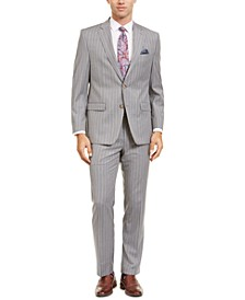 Men's Classic-Fit UltraFlex Stretch Light Gray Stripe Suit Separates