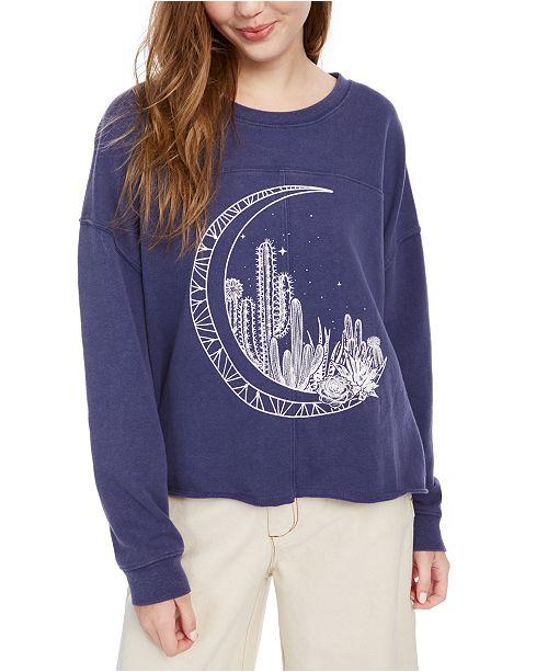 Pretty Rebellious Juniors' Moon Graphic-Print Sweatshirt