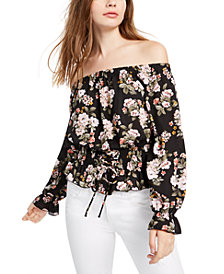 Ultra Flirt Juniors' Smocked Off-The-Shoulder Top