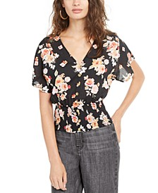 Juniors' Smocked Floral-Print Top
