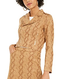 Lucy Paris Faux Suede Snake Skin Jacket