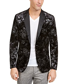 INC Men's Big and Tall Foil Printed Velvet Blazer, Created For Macy's