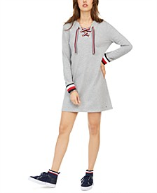 Lace-Up Hoodie Sweatshirt Dress, Created for Macy's