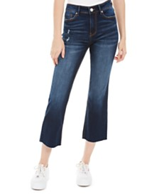 Indigo Rein Juniors' Ripped Cropped Flare-Leg Jeans