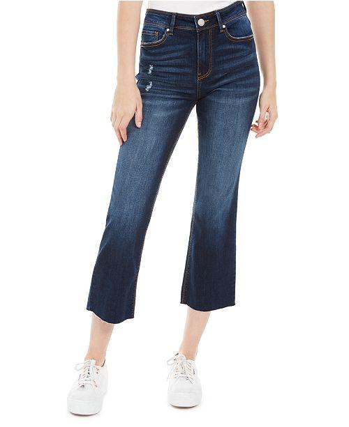 Indigo Rein Juniors' Ripped Cropped Flare-Leg Jeans