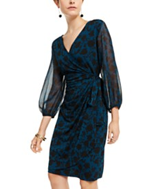 I.N.C. Petite Printed Blouson-Sleeve Dress, Created For Macy's