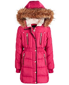 Toddler Girls Faux-Fur-Trim Hooded Puffer Jacket