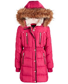 DKNY Little Girls Hooded Puffer Jacket With Faux-Fur Trim