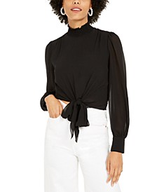 Mock-Neck Tie-Hem Top