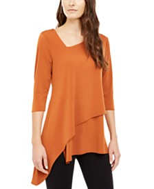 Alfani Asymmetrical-Hem 3/4-Sleeve Top, Created for Macy's